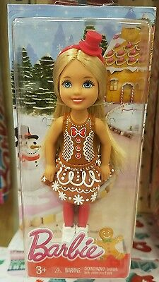 2016 BARBIE CHRISTMAS Chelsea Kelly Gingerbread Doll Limited 4 inch stocking NEW