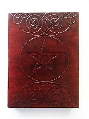 Book Of Shadows Journal Pentagram / Pentacle Leather Bound Large, Blank Pages