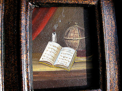 """PAIR of Miniature Hand Painted Oil on Board PAINTING Glasses, Books, Globe"""" LOOK"""