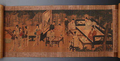 Very Long Rare Old Chinese Scroll Hand Painting Landscape Figures 257GD