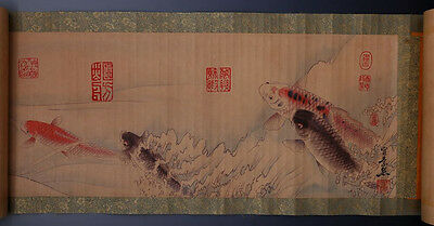 Very Long Rare Old Chinese Scroll Hand Painting Fishes Signed WangSu 258GD