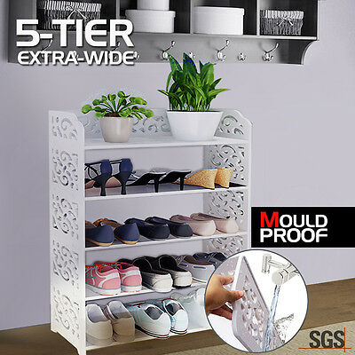 White Chic Hollow Out 5 Tiers Shoe Rack Stand Storage Organiser Shelf Unit