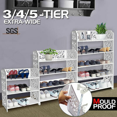 3/4/5 Tiers White Chic Hollow Out Shoe Rack Stand Storage Organiser Shelf Units