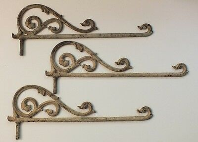 Set of 3 Antique/Vintage Metal Curtain/Drapery Supports