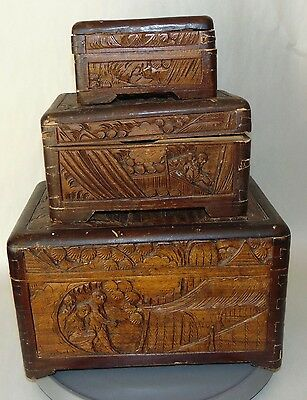 THREE ANTIQUE CHINESE Nesting STACKING Boxes CAMPHOR WOOD Carved