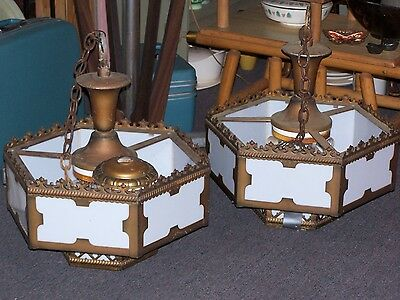 2 Large Vintage Gothic Stained Glass Chandeliers 40's-50's Gilt Metal Medieval