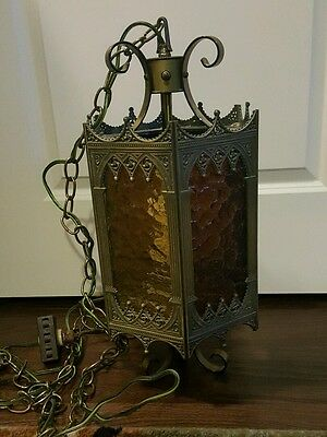 Vintage Multi-Colored Stained Glass Hanging Swag Lamp Light Spanish Gothic Style