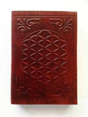 Journal Book Of Shadows Celtic Flower Mandala Leather Bound, Blank Pages