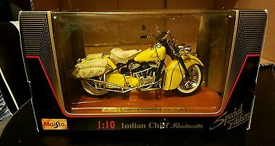 Indian Chief Roadmaster 1:10 Diecast Motorcycle Yellow Maisto Special Edition
