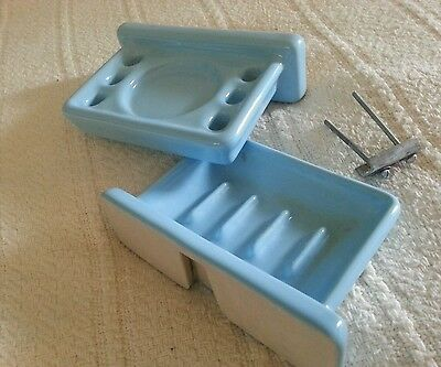 Vintage Light Blue Porcelain Toothbrush and Soap Holder w/ Hardware