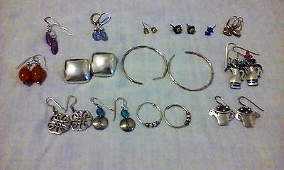 14 vintage and Moderns Sterling silver Earrings lot