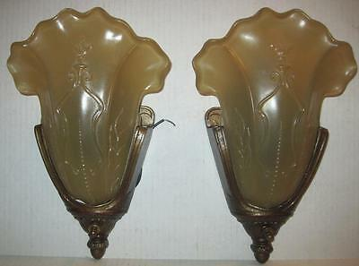 Pair Vintage Art Deco Wall Sconces with Iridescent Ivory Glass Fan Slip Shades