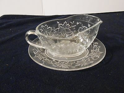 Princess House FANTASIA Crystal Gravy Boat and Under Plate Set