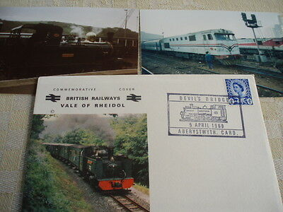 1969  Vale of Rheidlol first day cover not addressed, + 2 train photo IOM, Egypt
