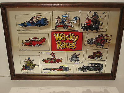 Wacky Races Back Screened Glass Mirror Framed Racer Car Chart ~ All 11 Racers ~