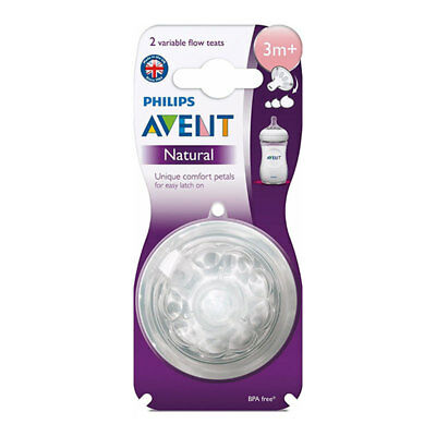 Philips Avent Natural Variable Flow Teats 2 Pack Piece 3 Months + Bpa Free 3M+
