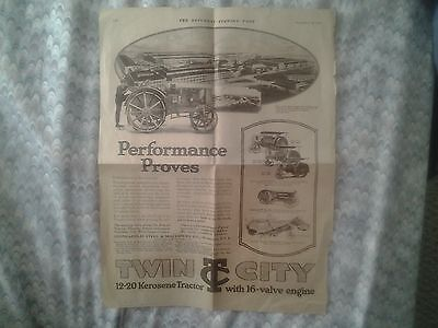 1919 Twin City Tractor Ad - Saturday Evening Post