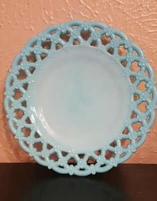 Vallerysthal Portieux?  Flower Plate Antique Opaque Blue Milk Glass 8 1/4