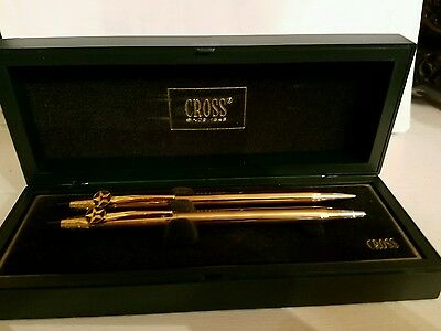 Vintage 10KT GOLD CROSS PEN & PENCIL SET W/ TEXACO STARS both working