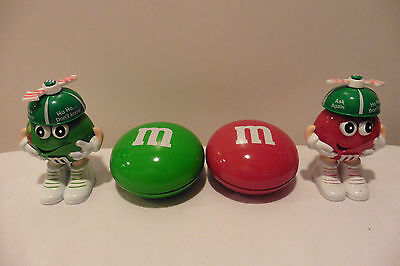 Red and Green Christmas Collectible M&M's Candy Container and Tin Containers