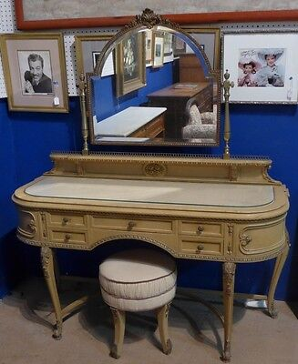 Vanity Table with Mirror and Stool Lot 487