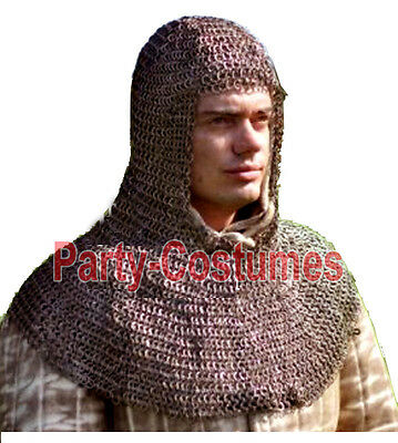 Medieval Chainmail Armor HOOD / COIF 9 MM Flat Riveted Mild Steel