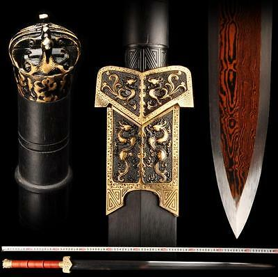 Boutique Chinese Sword Longquan Sword (劍) Red Pattern Steel Copper Tsuba Sharp