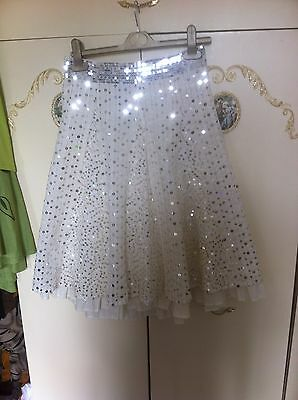 Girls Cream/sequined Skirt By M&spencers Size 11Yrs