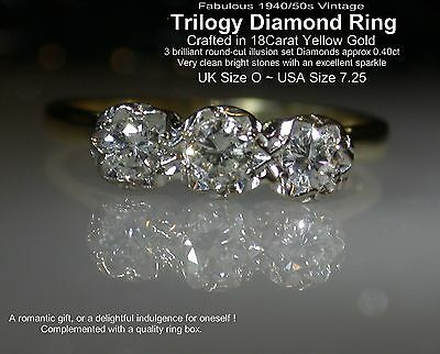 Wonderful 1940s Vintage! 18Carat Yellow Gold Trilogy 0.40ct Diamond Ring UK O