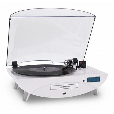 Thomson 3 Speed Gloss White Turntable / CD / MP3 Player