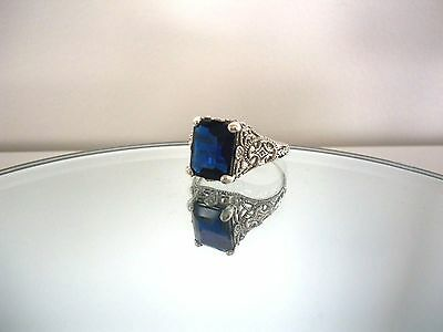 Beautiful 4Ct Natural  Blue Sapphire Art Nouveau Style Ring~Sterling Silver 925