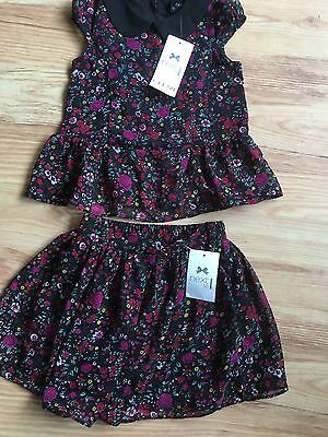 Girl's Next Flower Print Skirt And Top Set Age 3 Bnwt