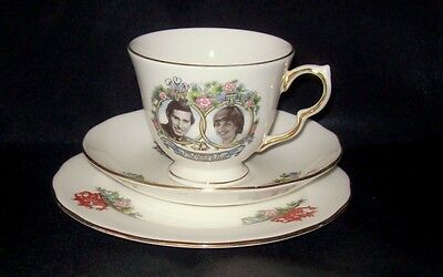 """Queen Anne bone china """"Charles and Diana Marriage"""" Cup, Saucer & Side Plate"""