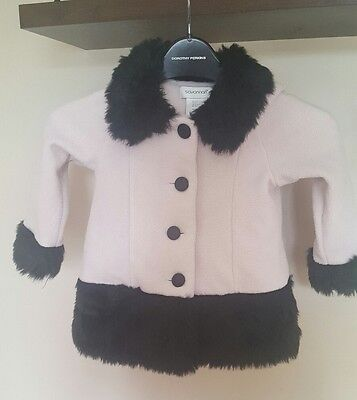 Black and white faux fur coat  1-2 years