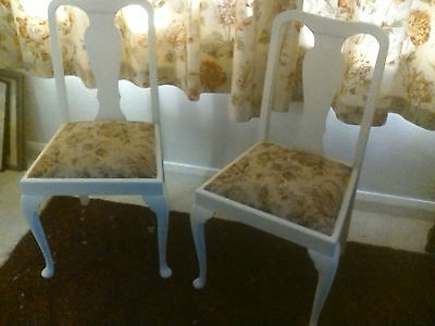 Vintage Pair Cream Painted Queen Anne Style Dining Chairs Brown Floral Seats