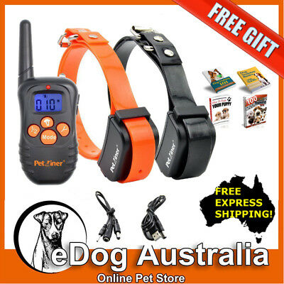 Petrainer Beep and Vibration Rechargeable Remote Dog Training Collar for 2 Dogs