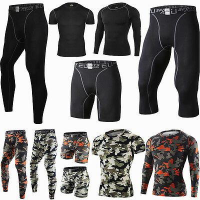 Fitness Mens Sport Compression Tights Base Layer Long Pants Sleeve T-Shirts V133
