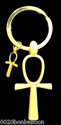 "Ankh Cross Egyptian Keychain Key Chain Ring Pewter key of life 4.2"" Pharaoh 208"