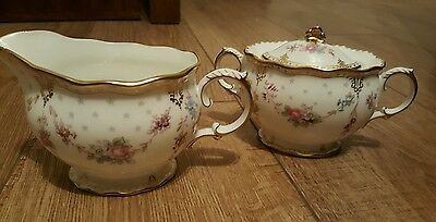 Royal Crown Derby Royal Antoinette cream jug and covered sugar