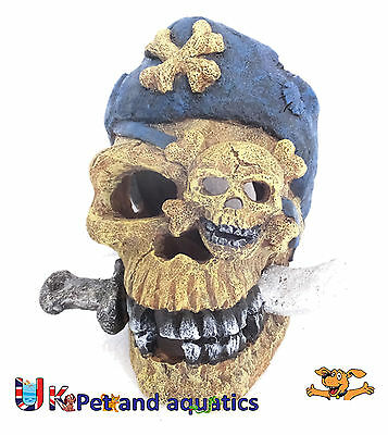 Aquarium Pirate Skull & Knife Fish Tank Ornament
