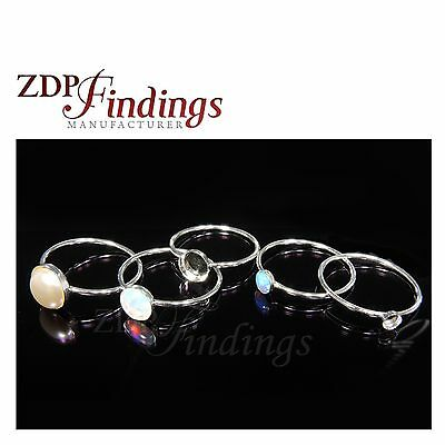 2pc x Sterling Silver Delicate Skinny Stacking Bezel cup Ring Blank Base Setting