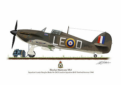 Hawker Hurricane Aircraft Profile Artwork Douglas Bader A3 Glossy Print WW2