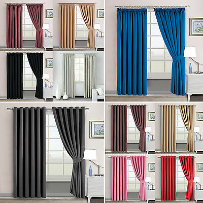 THERMAL BLACKOUT CURTAINS Eyelet/RingTop OR Pencil Pleat with FREE 2 Tie Backs