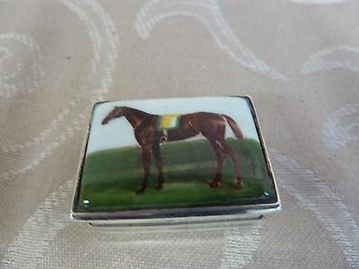 Silver Pillbox with enamelled lid