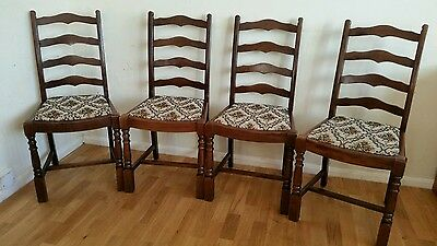 Set Of 4 Solid Oak Kitchen / Dining Chairs . Vintage Cottage / Farmhouse Seats