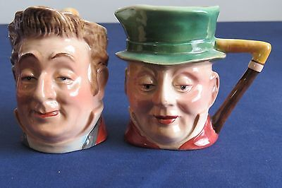 """Beswick Small Toby Character Jugs - Mr Pecksniff and Mr Micawber approx 3"""" tall"""