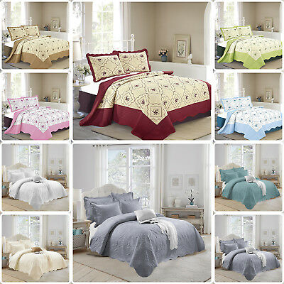 Bedspread 3 piece Embroidered Bedspread Comforter Set Quilted Bed Spread Size