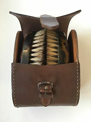 Old Vintage Set of Clothes Brushes In Leather Case