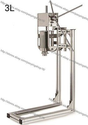 5 Nozzles S/S 3L Manual Vertical Spanish Donut Churros Machine Maker w/ Stand