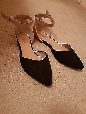 womens New Look pink and black flat shoes size 7